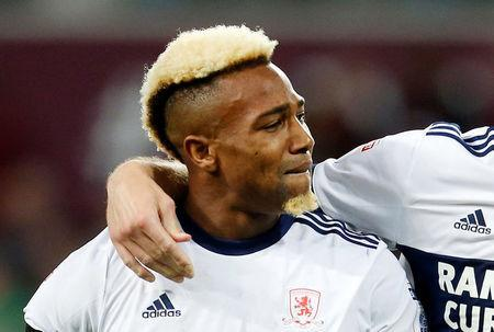 Soccer Football - Championship Play Off Semi Final Second Leg - Aston Villa v Middlesbrough - Villa Park, Birmingham, Britain - May 15, 2018 Middlesbrough's Adama Traore looks dejected after the match. Action Images via Reuters/Ed Sykes