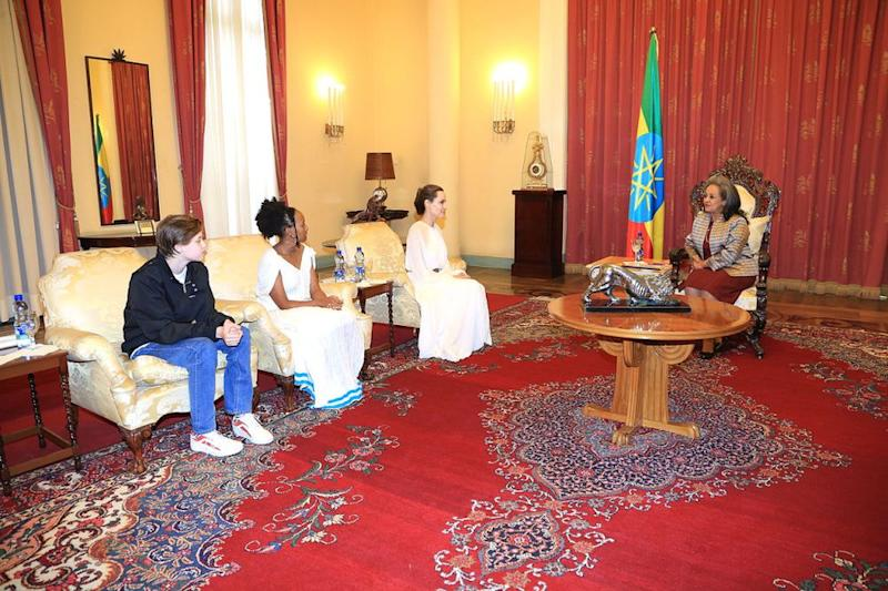 Angelina Jolie, Zahara and Shiloh in a meeting with The President of the Federal Democratic Republic of Ethiopia, H.E. Sahle-Work Zewde | Office of the President, Federal Democratic Republic of Ethiopia