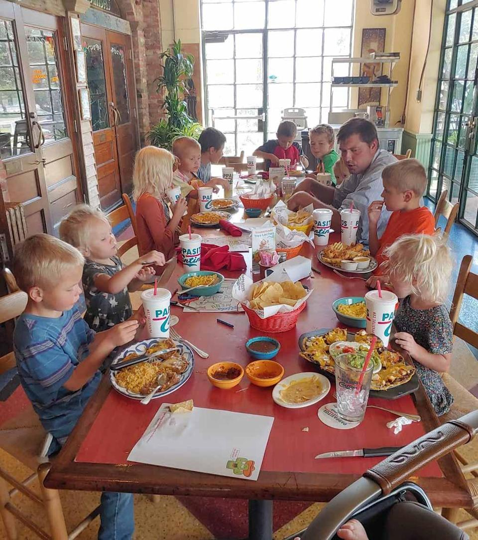 Family dinner for Courtney and Chris' 11 children. PA REAL LIFE