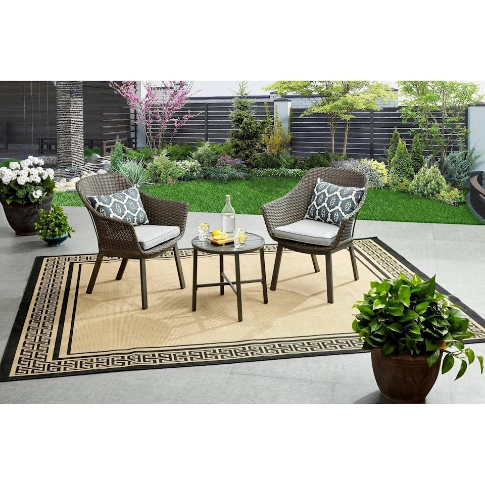 <p>This <span>Better Homes &amp; Gardens Cason Cove Contemporary 3 Piece Chat Set</span> ($160) can go anywhere.</p>