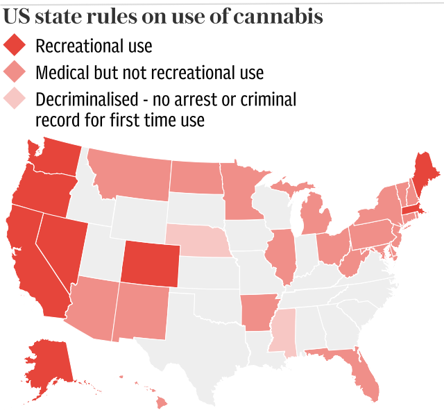 US state rules on use of cannabis