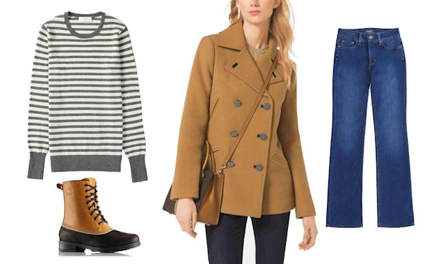 <p>Spencer's all-American look is perfect to wear to work on a snowy day or simply for a weekend stroll through the park. Chances are you already own jeans and boots to match the look. Add a stylish pea coat and a striped sweater, and you're good to go. </p>