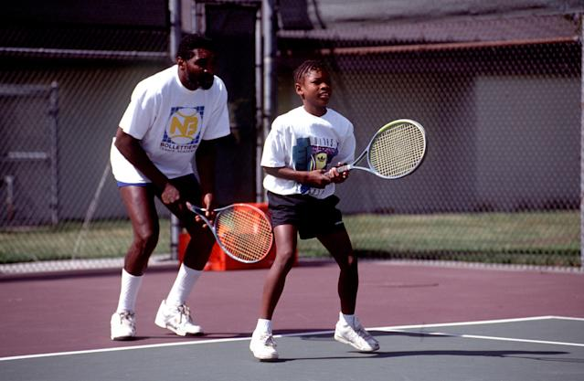 Richard Williams taught Serena Williams to play tennis on a public court in Compton, California. (Getty)