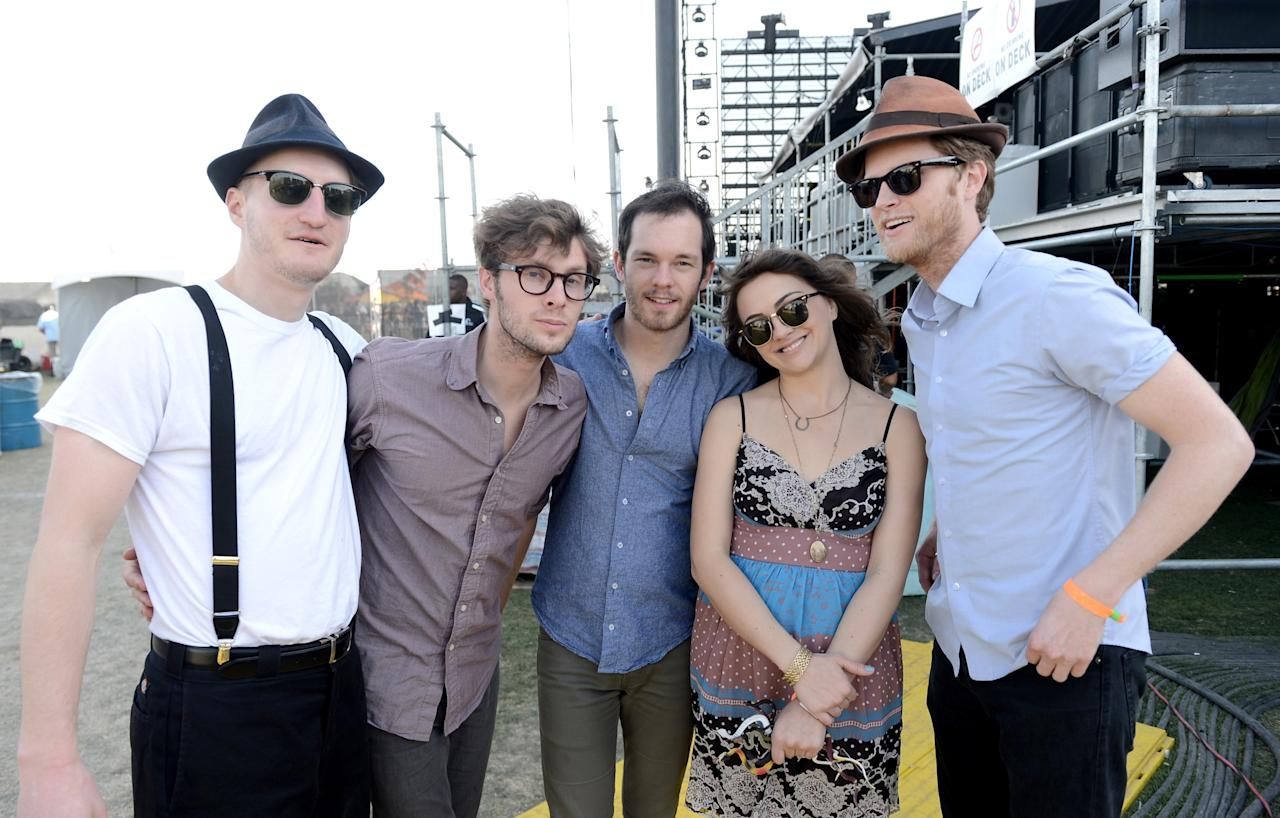 INDIO, CA - APRIL 14:  (L-R) Musicians Jeremiah Fraites, Ben Wahamaki, Stelth Ulvang, Neyla Pekarek and Wesley Schultz of the band The Lumineers pose backstage during day 3 of the 2013 Coachella Valley Music & Arts Festival at the Empire Polo Club on April 14, 2013 in Indio, California.  (Photo by Kevin Winter/Getty Images for Coachella)