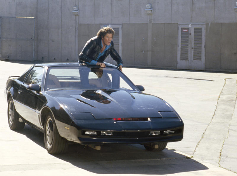 KNIGHT RIDER -- Pictured: David Hasselhoff as Michael Knight and K.I.T.T. (Photo by NBCU Photo Bank/NBCUniversal via Getty Images via Getty Images)