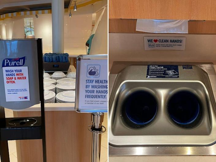 A sanitizer and hand-washing station on the cruise ship.