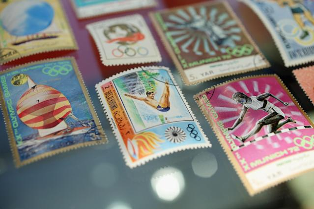 LONDON, ENGLAND - APRIL 05: Olympic themed stamps on display in Bonhams auction house on April 5, 2012 in London, England. The item features in Bonhams' forthcoming Summer Sporting Sales and is in a lot expected to fetch 300 GBP when auctioned alongside other sporting memorabilia on May 29, 2012. (Photo by Oli Scarff/Getty Images)