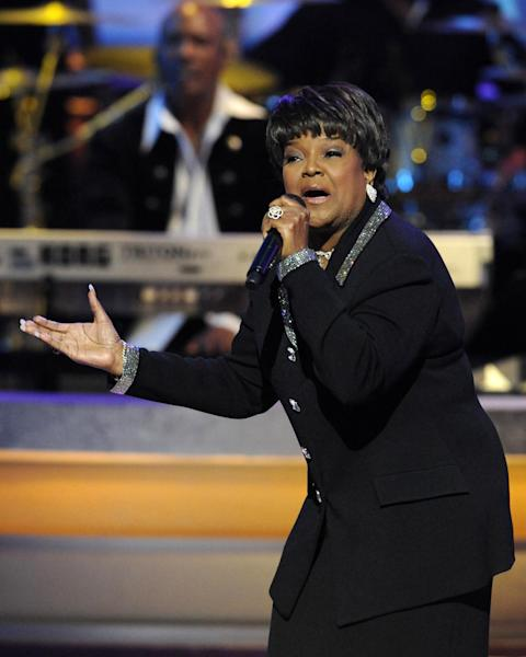 "FILE - This Dec. 15, 2007 file photo shows 11-time Grammy winner and pastor Shirley Caesar performing at BET network's Annual Celebration of Gospel concert in Los Angeles. Caesar, who is known as the ""Queen of Gospel,"" is singing to a different tune on her new solo album, ""Good God,"" released last week. It has been four years since she dropped an album, giving her time to embrace a new musical approach. The 74-year-old Caesar brought on up-and-comers Kurt Carr and James Fortune as producers to infuse a more contempo style. (AP Photo/Chris Pizzello, file)"