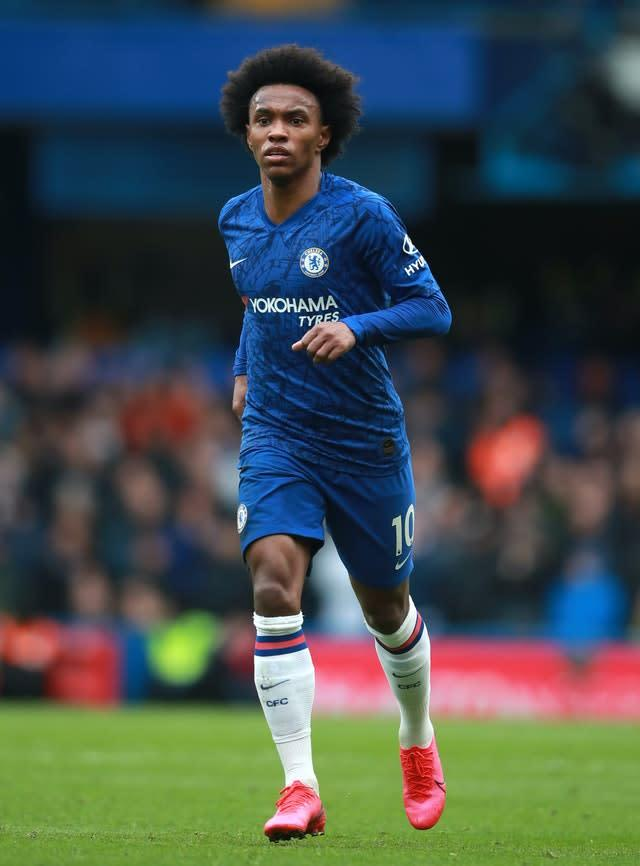 Manchester United are in pursuit of Chelsea's Willian (Adam Davy/PA)