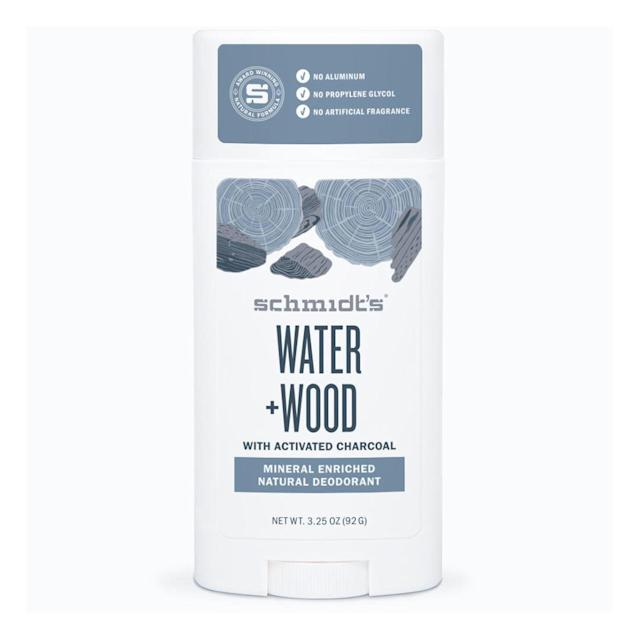 """<p>Schmidt's Water + Wood Deodorant means serious business, despite containing no harsh nasties. Escobar says its lightweight, fresh scent lasted them a full 15-hour travel day — including a three-hour flight and 45 minutes in the car. They explain it smells like a mix of ocean breeze and bonfire, which might sound odd, but simply <em>works.</em></p> <p>$5 (<a href=""""https://shop-links.co/1675622140674082266"""" rel=""""nofollow noopener"""" target=""""_blank"""" data-ylk=""""slk:Shop Now"""" class=""""link rapid-noclick-resp"""">Shop Now</a>)</p>"""