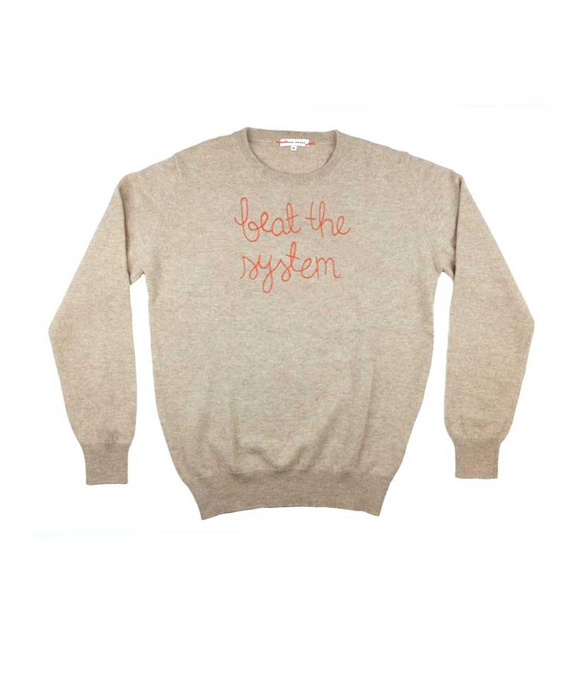"""<p>""""beat the system"""" sweater, $380, <a rel=""""nofollow"""" href=""""https://go.skimresources.com?id=125078X1586062&xs=1&url=https%3A%2F%2Flinguafranca.nyc%2Fcollections%2Fsweaters%2Fproducts%2Fbeat-the-system-sweater"""">linguafranca.nyc</a> </p>"""
