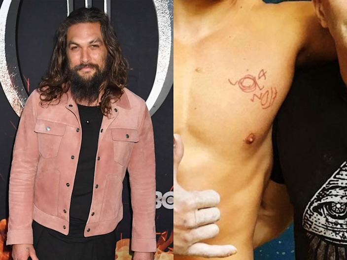 Jason Momoa has a tattoo on his chest.