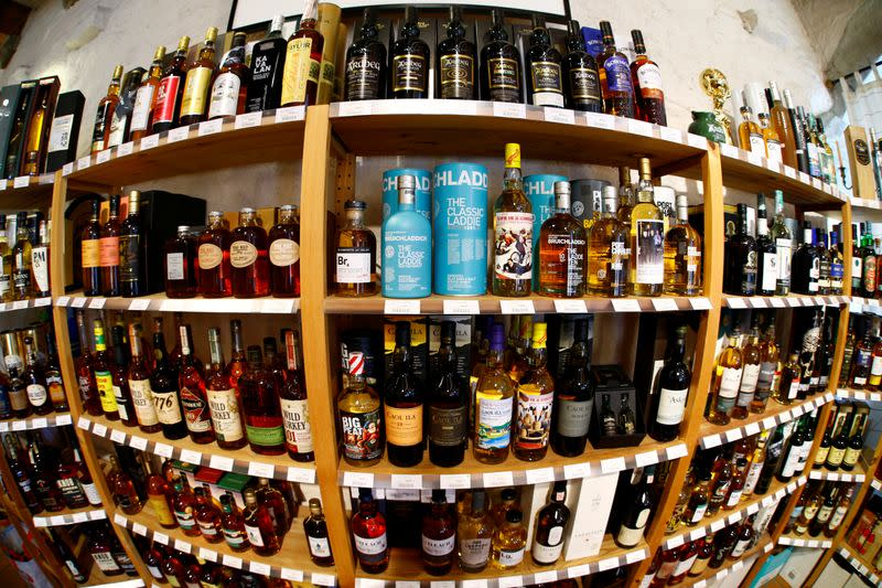 Bottles of single malt scotch whisky are pictured in a shop near Lausanne