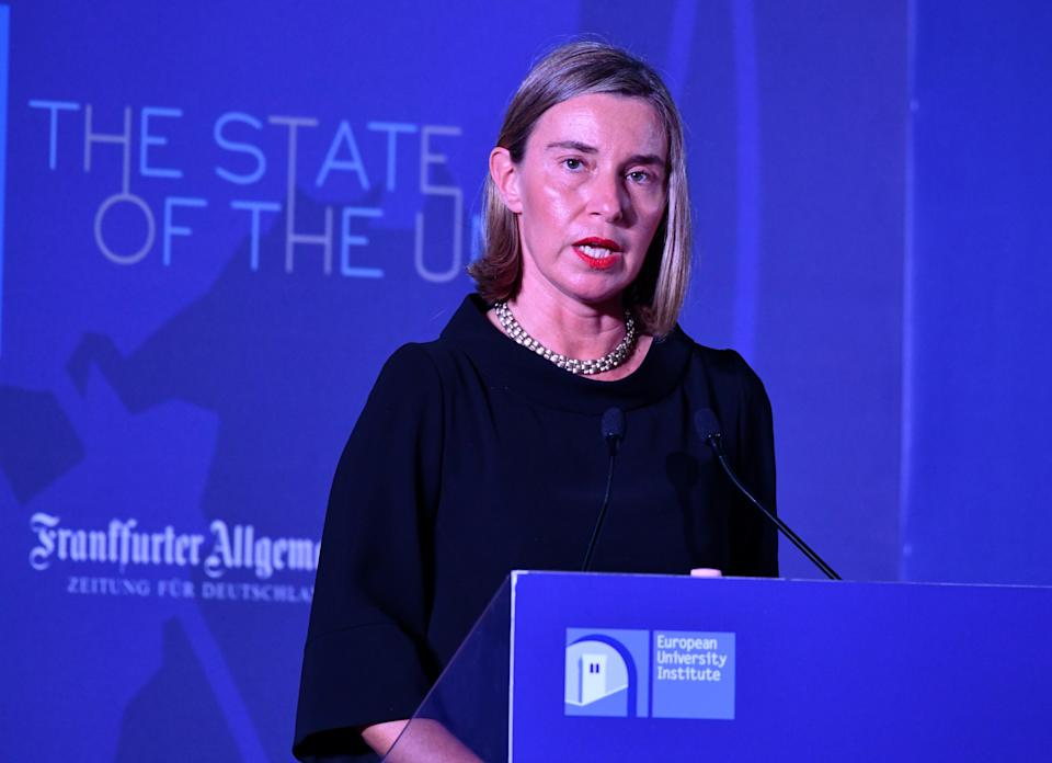 EU high representative for foreign affairs Federica Mogherini speaking in Florence today (Getty)