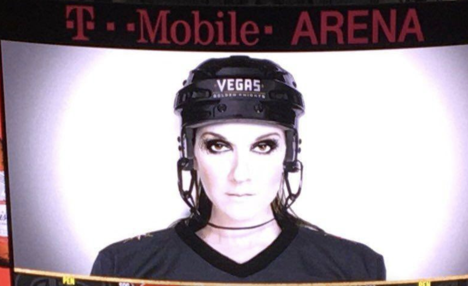 Celine Dion is a Quebec icon and known Habs fan, but the now-Vegas resident is being called out for repping the Golden Knights ahead of Tuesday's Game 5. (Twitter/@CCpxpSN)