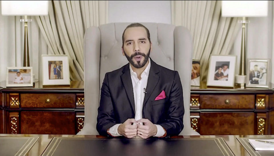 In this image taken from video provided by UN Web TV, Nayib Armando Bukele, President of El Salvador, remotely addresses the 76th session of the United Nations General Assembly in a pre-recorded message, Thursday Sept. 23, 2021, at UN headquarters. (UN Web TV via AP)