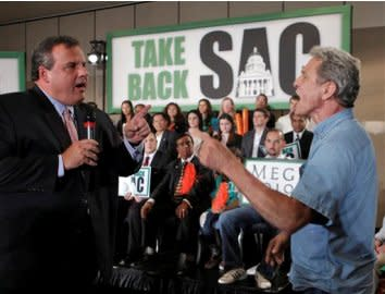 Chris Christie takes on a heckler at a Meg Whitman campaign event.