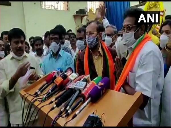 BJP leader Prakash Javadekar with A. Arunachalam who joined BJP after leaving MNM, during a press conference in Chennai on Friday. (Photo/ANI)
