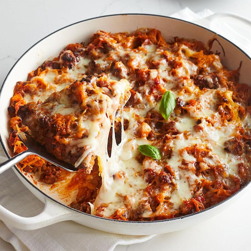 <p>Strands of tender squash replace pasta for a more flavorful version of spaghetti pie casserole. Not to mention, spaghetti squash is a low-carb alternative to pasta and saves more than 150 calories per serving compared to a traditional recipe. A sprinkling of nutty fontina cheese melts into a gooey topping.</p>