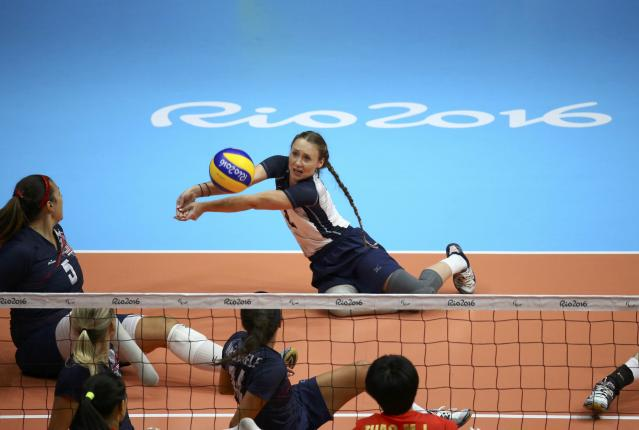 2016 Rio Paralympics - Sitting Volleyball - Final - Women's Gold Medal Match - Riocentro Pavilion 6 - Rio de Janeiro, Brazil, 17/09/2016. Bethany Zummo (USA) of the United States in action. REUTERS/Pilar Olivares FOR EDITORIAL USE ONLY. NOT FOR SALE FOR MARKETING OR ADVERTISING CAMPAIGNS.
