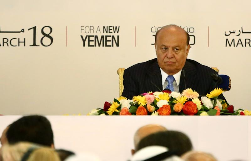 Yemeni President Abed Rabbu Mansour Hadi, attends the opening of the National Dialogue Conference in Sanaa, Yemen, Monday, March 18, 2013. (AP Photo/Hani Mohammed)