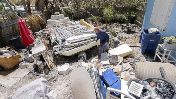 PHOTO: Reynaldo Martinez surveys the debris deposited in his backyard after Hurricane Irma struck the Florida Keys in Marathon, Fla., Sept. 12, 2017. (Erik S. Lesser/EPA)