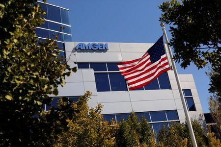 FILE PHOTO - An Amgen sign is seen at the company's office in South San Francisco, California October 21, 2013. REUTERS/Robert Galbraith/File Photo
