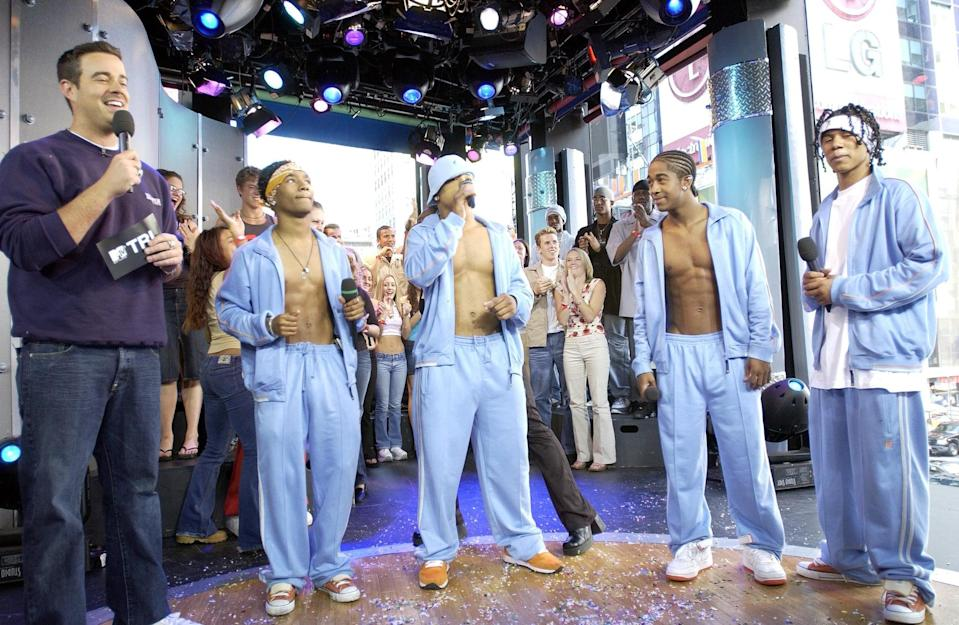 <p>B2K visited the show (and showed off their abs) for a 2002 episode of <b>TRL</b>.</p>