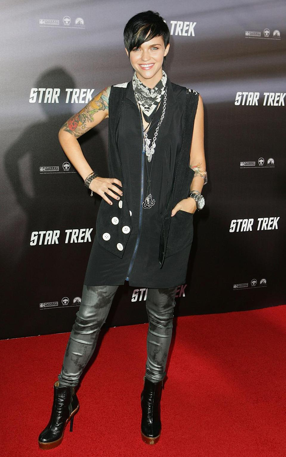 <p>Ruby Rose, Australian-born star of <i>Orange Is the New Black</i>, was a local television presenter at the time of the <i>Star Trek</i> Australian premiere.<i> (Photo: Sergio Dionisio/Getty Images)</i></p>