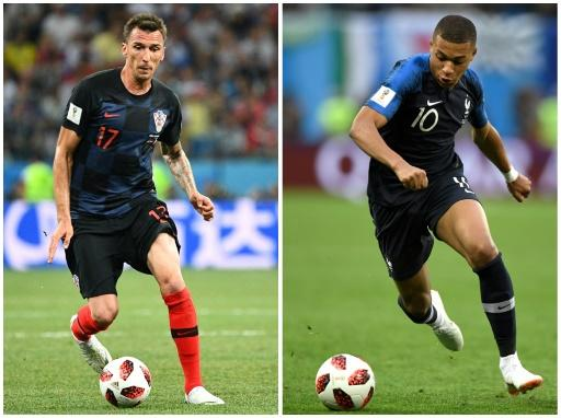 Mario Mandzukic (left) and Croatia will try to stop the electric Kylian Mbappe when they face France in the World Cup final
