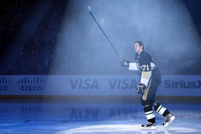 OTTAWA, ON - JANUARY 28:  Evgeni Malkin #71 of the Pittsburgh Penguins gets introduced prior to the 2012 Molson Canadian NHL All-Star Skills Competition at Scotiabank Place on January 28, 2012 in Ottawa, Ontario, Canada.  (Photo by Christian Petersen/Getty Images)