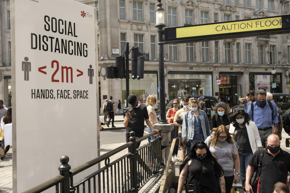 Social distancing signs are still in place outside Oxford Circus station on Oxford Street as the national coronavirus lockdown three eases towards the planned 'Freedom Day' on 22nd July 2021 in London, United Kingdom. Now that the roadmap for coming out of the national lockdown and easing of restrictions is set, dome medical professionals are suggesting thatsome safety measures are kept in place because of the increase in the Delta variant. (photo by Mike Kemp/In Pictures via Getty Images)