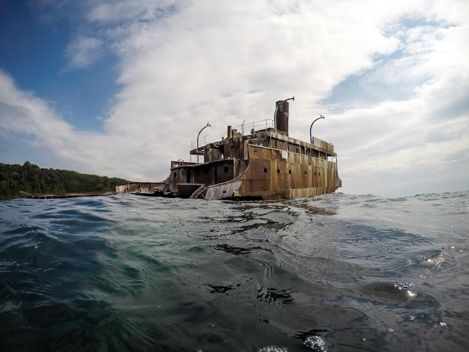 1960 shipwreck in Lake Michigan, declared a total loss, owner never identified.
