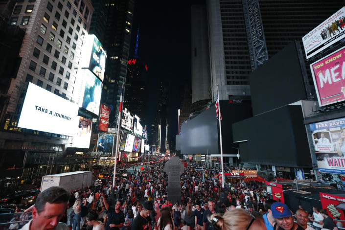 Screens in Times Square are black during a power outage, Saturday, July 13, 2019, in New York. Authorities were scrambling to restore electricity to Manhattan following a power outage that knocked out Times Square's towering electronic screens and darkened marquees in the theater district and left businesses without electricity, elevators stuck and subway cars stalled. (Photo: Michael Owens/AP)