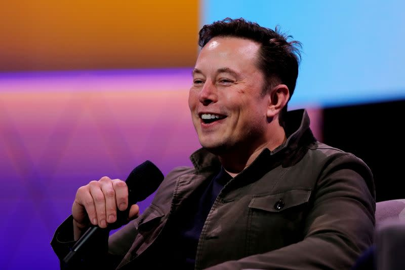 FILE PHOTO: Tesla CEO Elon Musk speaks during the E3 gaming convention in Los Angeles
