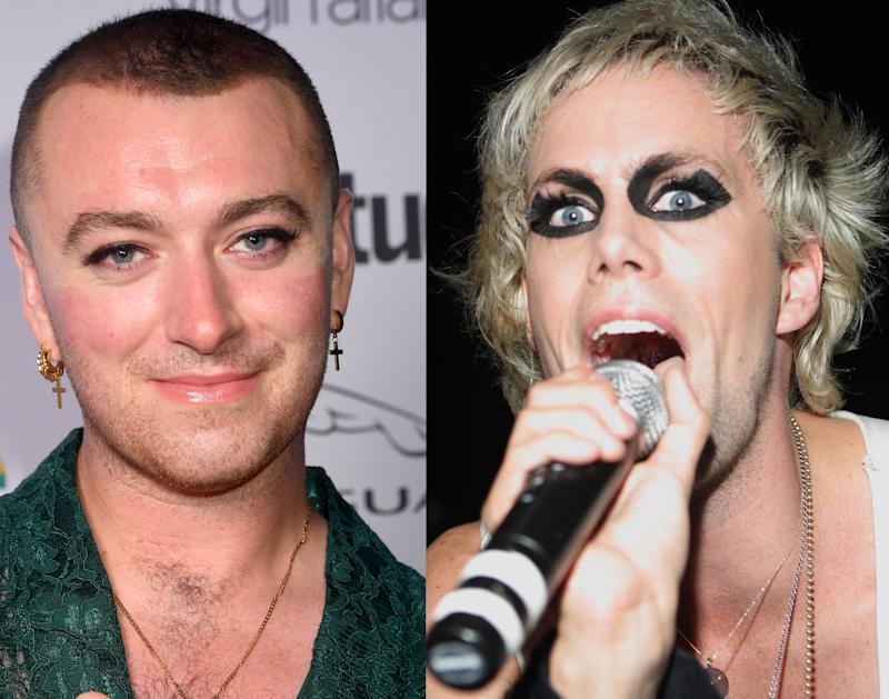 Sam Smith in 2019, Justin Tranter in 2008. (Photos: Getty Images)