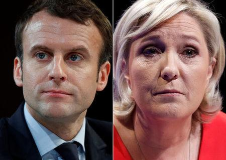 A combination picture shows portraits of the candidates, Macron and Le Pen, who will run in the second round in the 2017 French presidential election in France