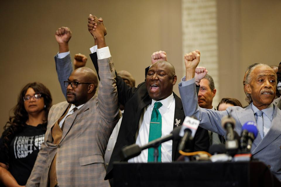 Reverend Al Sharpton, Attorney Ben Crump and Philonise Floyd attend a news conference following the verdict in the trial of former Minneapolis police officer Derek Chauvin, found guilty of the death of George Floyd, in Minneapolis, Minnesota, U.S., April 20, 2021. (Nicholas Pfosi/Reuters)