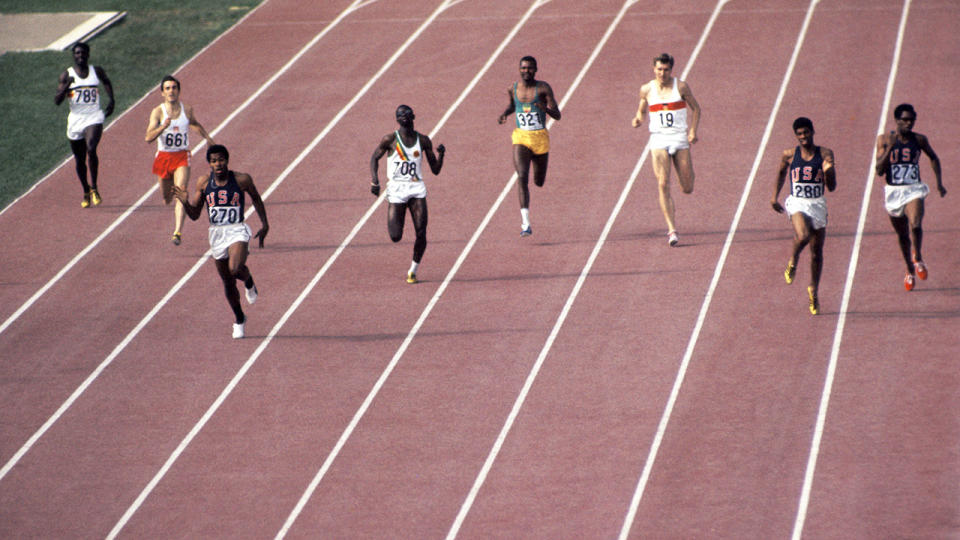 Lee Evans, pictured here winning gold in the 400m at the the 1968 Olympics.