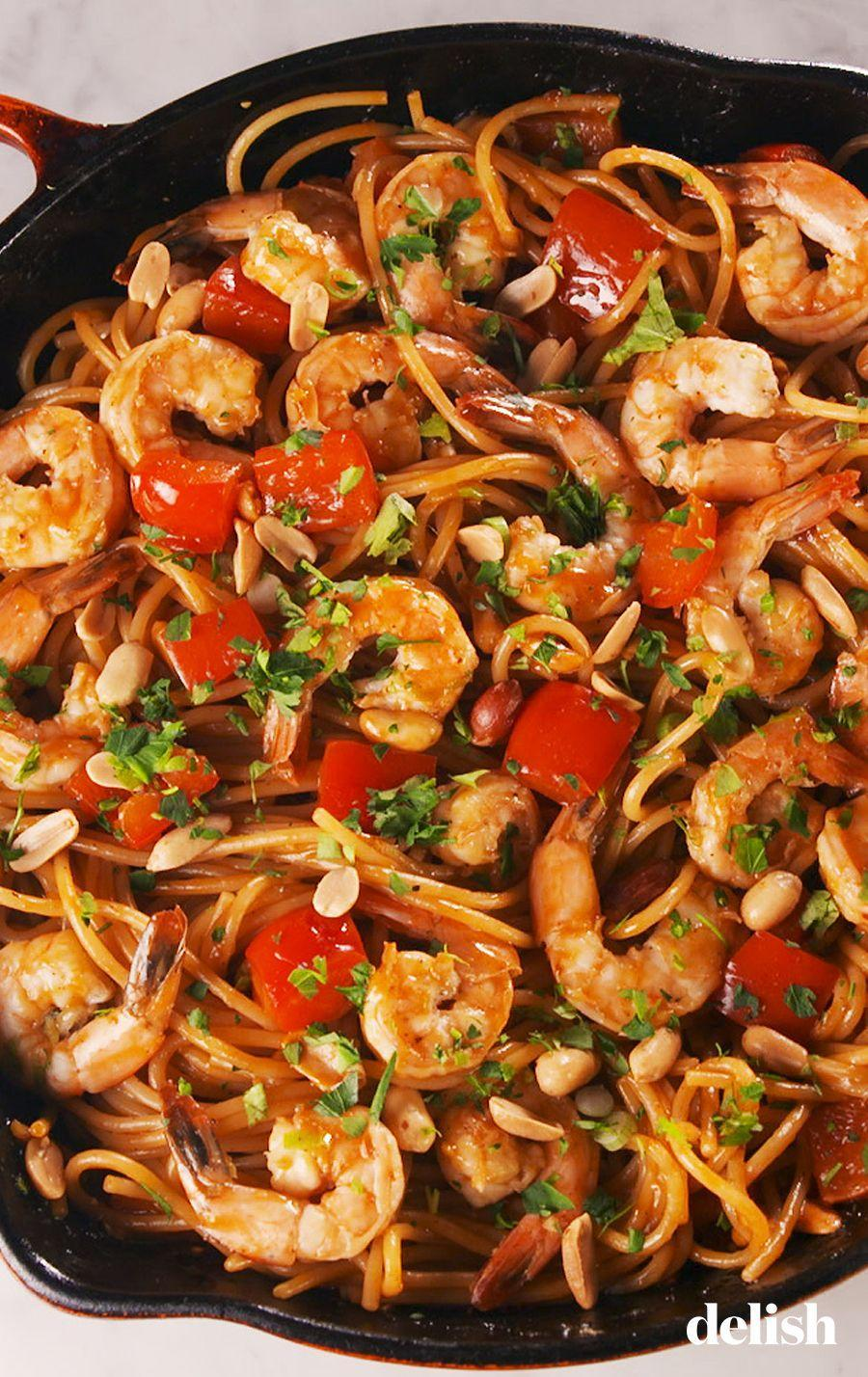 """<p>Kick things up a notch with Kung Pao Noodles.</p><p> Get the recipe from <a href=""""https://www.delish.com/cooking/recipe-ideas/a26355862/shrimp-kung-pao-noodles-recipe/"""" rel=""""nofollow noopener"""" target=""""_blank"""" data-ylk=""""slk:Delish"""" class=""""link rapid-noclick-resp"""">Delish</a>. </p>"""