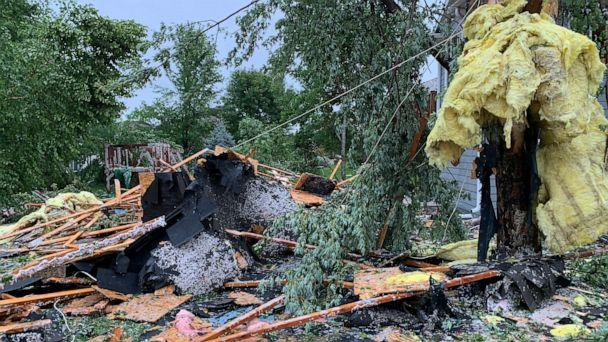 PHOTO: Debris from a violent storm litters a residential area of Sioux Falls, S.D., Sept. 11, 2019. (Sioux Falls Argus Leader via USA Today Network)