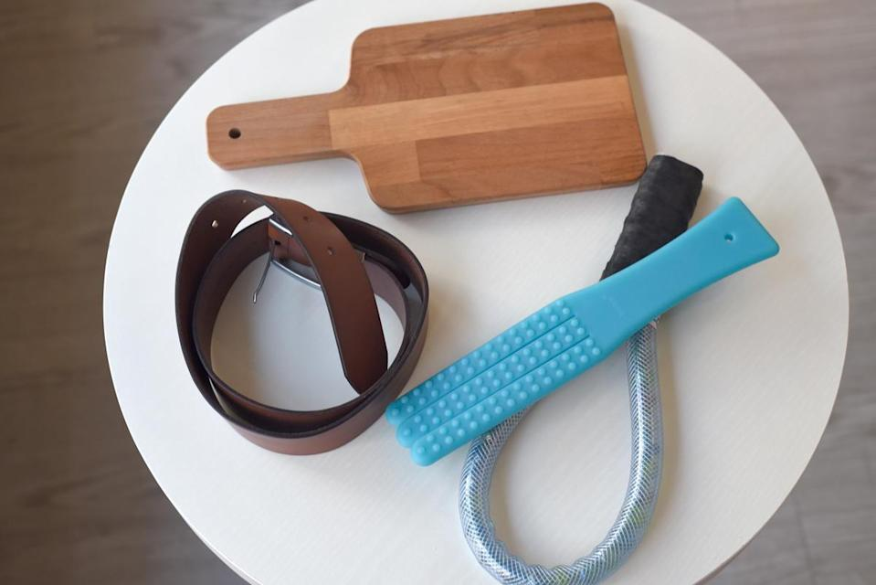 BDSM 'pervertibles' (clockwise): Chopping board, acupressure massager (in blue), DIY tool, belt. (Photo: Yahoo Lifestyle Singapore)