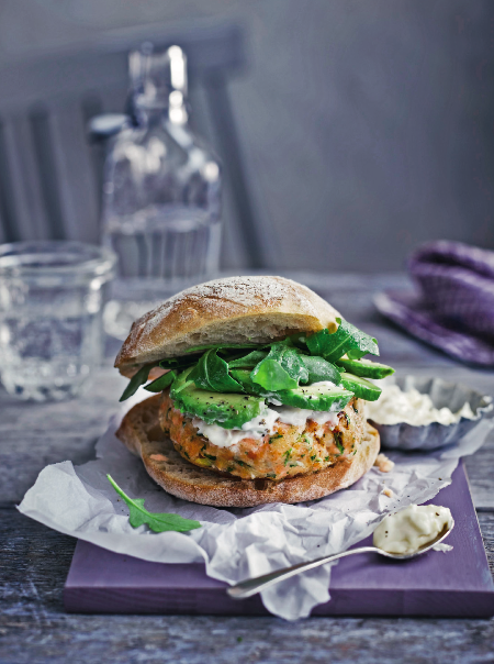 """<p>These homemade salmon burgers are served with a horseradish aioli and an avocado and rocket salad in a ciabatta bun.</p><p><a class=""""link rapid-noclick-resp"""" href=""""https://www.redonline.co.uk/food/recipes/a32727924/salmon-and-avocado-burgers-recipe/"""" rel=""""nofollow noopener"""" target=""""_blank"""" data-ylk=""""slk:SALMON AND AVOCADO BURGERS RECIPE"""">SALMON AND AVOCADO BURGERS RECIPE</a></p>"""