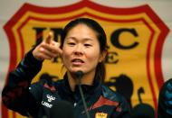 FIFA Women's World Player of the Year 2011 Homare Sawa speaks during a news conference before a charity soccer match in Barcelona