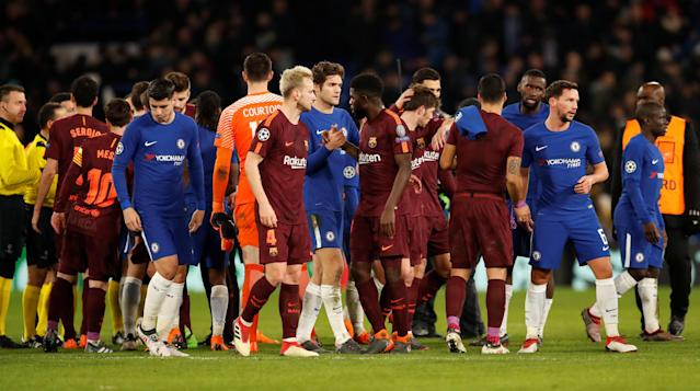 Soccer Football - Champions League Round of 16 First Leg - Chelsea vs FC Barcelona - Stamford Bridge, London, Britain - February 20, 2018 Chelsea's Marcos Alonso shakes the hand of Barcelona's Samuel Umtiti after the match Action Images via Reuters/Andrew Boyers