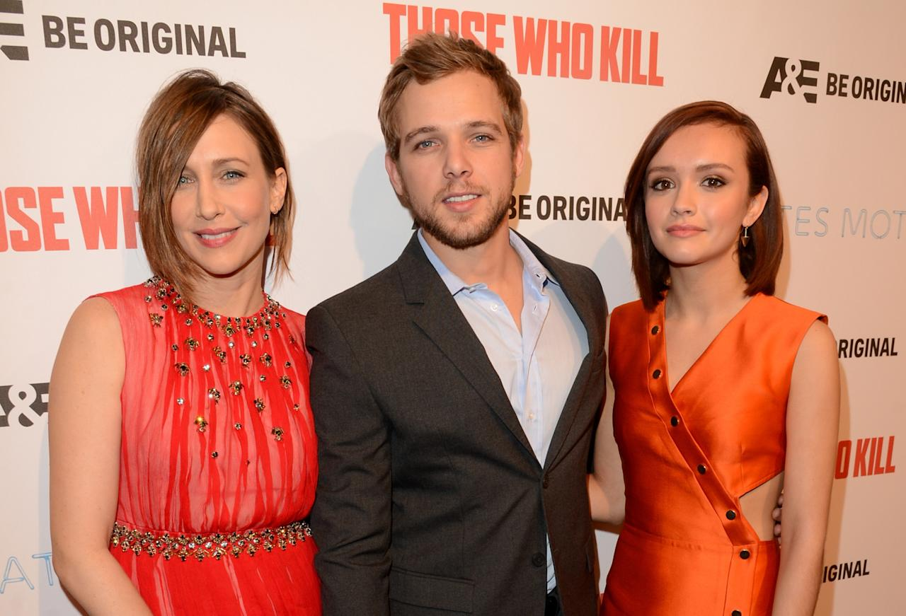 "HOLLYWOOD, CA - FEBRUARY 26: (L-R) Actors Vera Farmiga, Max Thieriot and Olivia Cooke attend A&E's ""Bates Motel"" and ""Those Who Kill"" Premiere Party at Warwick on February 26, 2014 in Hollywood, California. (Photo by Jason Merritt/Getty Images for A&E)"