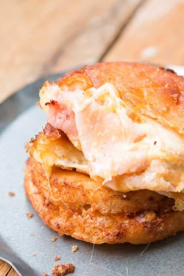 "<strong>Get the <a href=""https://ohsweetbasil.com/fried-ham-and-cheese-melts-recipe/"" target=""_blank"">Fried Ham and Cheese Melts</a> recipe from Oh Sweet Basil.</strong>"
