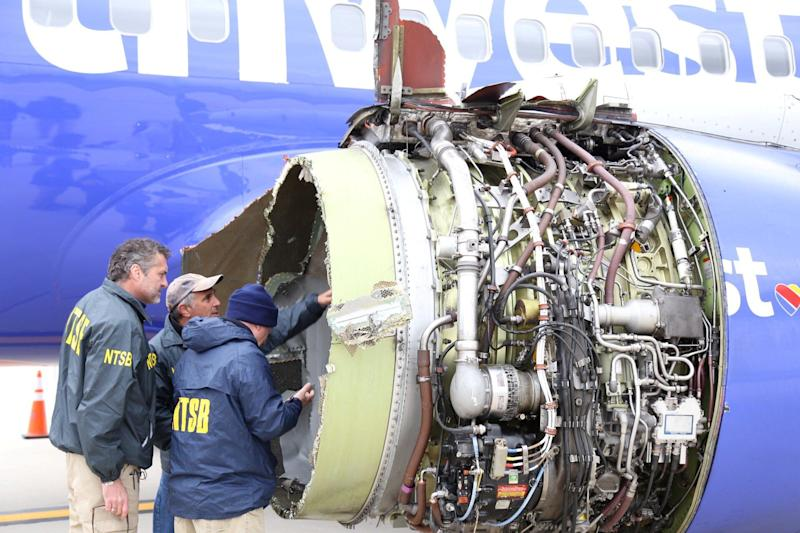The damaged engine of the Southwest Airlines plane.