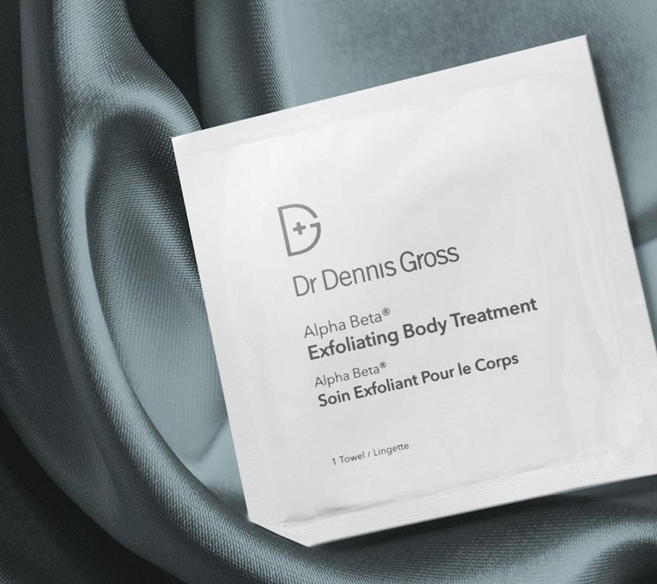 """<p>""""After using the <span>Dr. Dennis Gross Skincare Alpha Beta Exfoliating Body Treatment</span> ($58) twice in one week (the recommended amount), I could already feel a noticeable smoothness on my skin. I did see a visible improvement on my inner thighs, where I have some discoloration and bumpy ingrown hairs. I'd recommend this product to anyone who suffers from ingrown hairs, texture issues, or any discoloration. It was gentle on my sensitive skin, and I do think the same would hold true for anyone who has keratosis pilaris or body acne."""" - Morgan Ashley Parker, contributing editor, Commerce</p> <p>If you want to read more, here is the <a href=""""https://www.popsugar.com/beauty/dr-dennis-gross-alpha-beta-exfoliating-body-treatment-review-48036415"""" class=""""link rapid-noclick-resp"""" rel=""""nofollow noopener"""" target=""""_blank"""" data-ylk=""""slk:complete Dr. Dennis Gross Skincare Alpha Beta Exfoliating Body Treatment review"""">complete Dr. Dennis Gross Skincare Alpha Beta Exfoliating Body Treatment review</a>.</p>"""