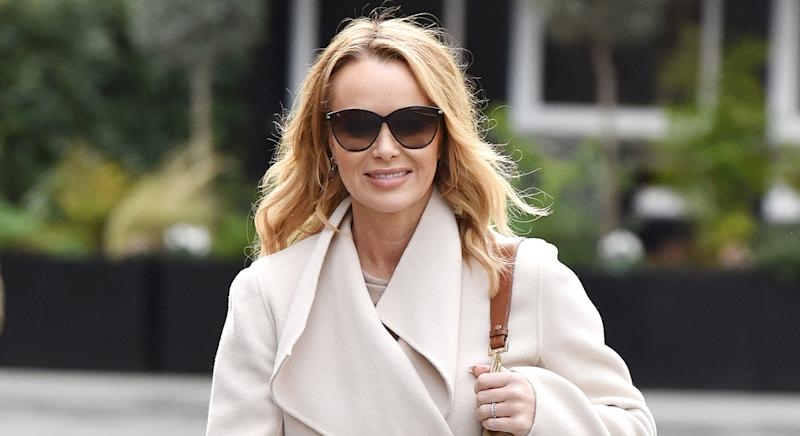 Amanda Holden wears pink Joanie jumper on Heart Breakfast radio